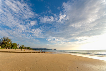 The river flows into the sea at Karon Beach . Phuket Thailand