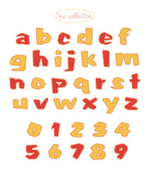 sew collection - hand made red and light orange colors quilt letters