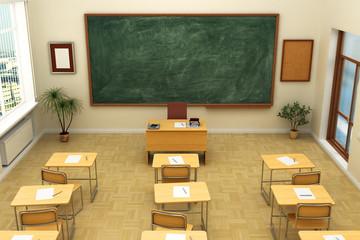 Empty school classroom with blackboard for training. 3D renderin