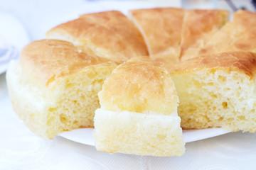 The white cornbread on a plate