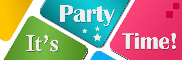 Its Party Time Colorful Rounded Squares Horizontal