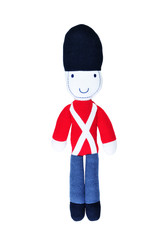 knitted toy soldier isolated on white background.
