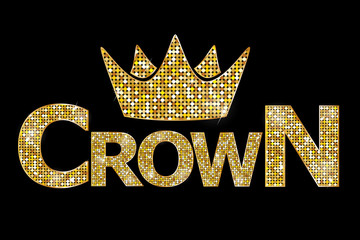 Vector illustration - Crown gold text