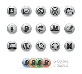 Communications Icons // Metal Round Series - Vector file includes 5 color versions.
