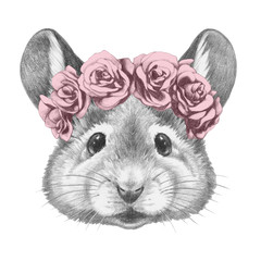 Portrait of Mouse with floral head wreath. Hand drawn illustration.