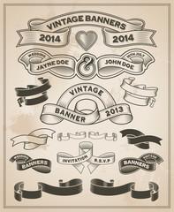 Vintage retro scroll and banner set - Vector design