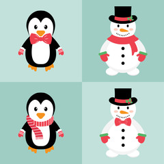 penguin and snowman set