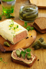 Terrine of chicken liver with butter.