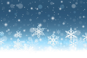 Abstract winter background with snowflakes and snow
