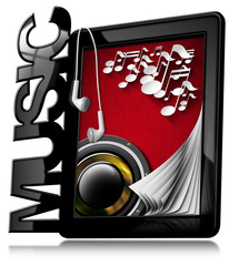 Music - Tablet Pc with Earphones / Black tablet computer with text Music, musical notes, woofer and earphones. Isolated on white background
