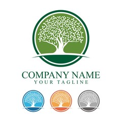 Oak Tree With Circle Logo Design