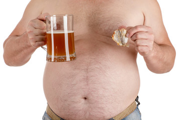 man with a big belly with beer in hand