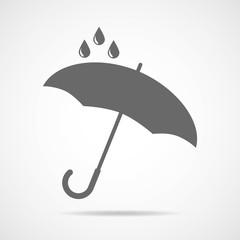 Vector umbrella logo, icon, rain symbol, silhouette shape, weather, interface element