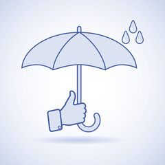 Vector illustration of classic elegant opened umbrella in man's hand