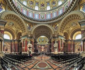 Interior of St. Stephen's Basilica (Szent Istvan-bazilika) in Budapest, Hungary