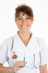 Woman nurse with stethoscope