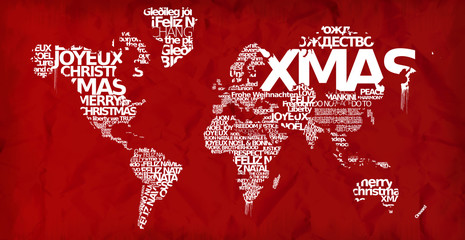Merry Christmas world map Xmas globe red greetings wallpaper background words tag cloud international text