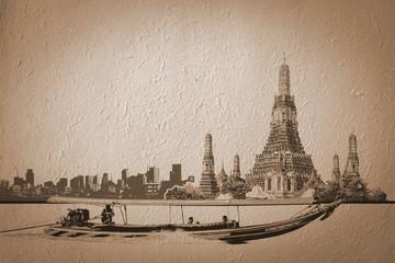 Bangkok, Thailand, Long tail boat infront of Wat Arun illustrati