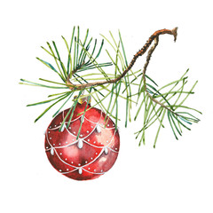 Christmas ball and Spruce painted in watercolor