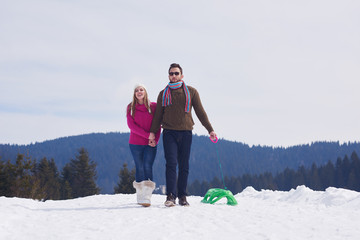 happy young couple having fun on fresh show on winter vacation