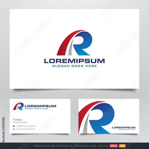 automotive type r logo and business card design v 2 stock image