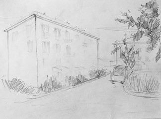 Street, pencil drawing