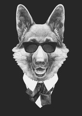 Portrait of German Shepherd in suit. Hand drawn illustration.