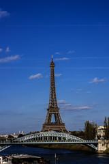 River Seine Embankment with Eiffel Tower (La Tour Eiffel). Paris
