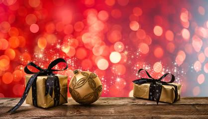 Karte Weihnacht Geschenke Rot