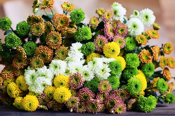 bouquet of chrysanthemums on the table
