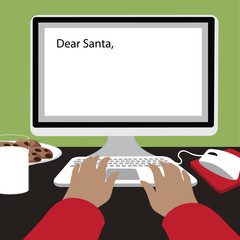 Child types a letter to Santa with copy space Flat design EPS 10 vector illustration