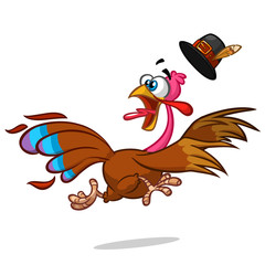 Turkey Escape Cartoon Mascot Character. Vector Illustration Isolated on white