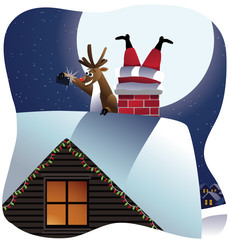 Reindeer takes a selfie with Santa stuck in the chimney. EPS 10 vector, grouped for easy editing. No open shapes or paths.