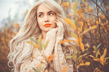 Beautiful lady surrounded autumn leaves