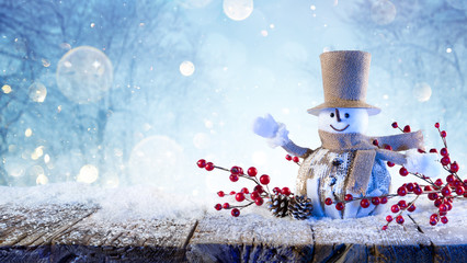 Snowman Greets Happy Under Snow