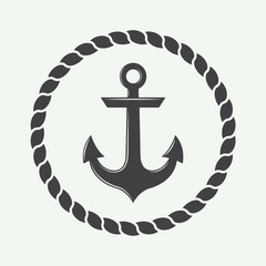 Anchor in vintage style. Vector illustration