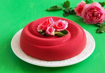 "Exclusive cake ""Cherry in chocolate"" coated with chocolate velor."