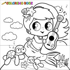 Coloring page cute mermaid by the sea playing music with her guitar.