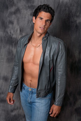 Attractive Guy in Open Leather Jacket