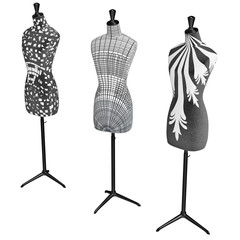 Mannequins on the metal tripod with black and white patterns