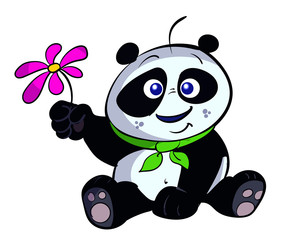 cute panda with flower