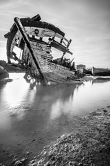 Remains of a ship, on Cadiz Coast, Spain. Black and White.