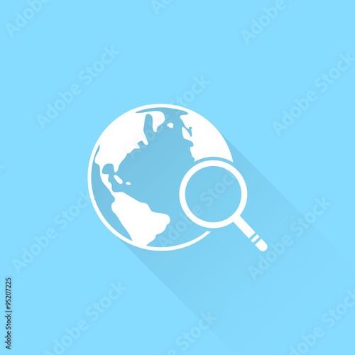 Global search vector icon  World globe symbol  Earth with