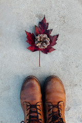 Red leaf, pinecone and winter boots.