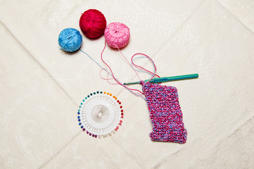 colorful knitting and thread