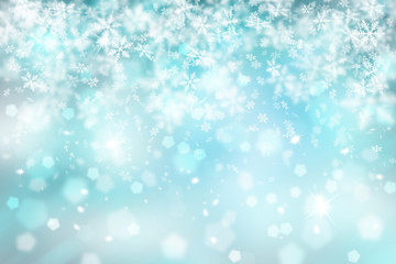Blurry cyan color abstract snowflake with sparkle Christmas illustration background. Copy space background.