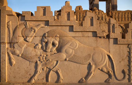 Bas Relief Carving of a Lion Hunting a Bull in Persepolis of Shiraz