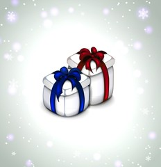 icon of holiday gift. Set of two colors. red and blue  ribbons.