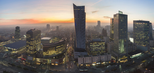 Panorama of Warsaw during autumn sundown
