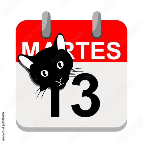 "Martes 13: ""Icono Plano Aplicacion Calendario Martes 13"" Stock Photo"
